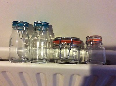 Set Of 4 Small Glass Storage Jar Metal Clamp Lid Air Tight Seal Container Food