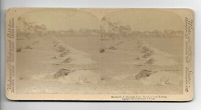 1898 SPANISH AMERICAN WAR On The US Skirmish Line Stereoview Army Ready 4 Enemy