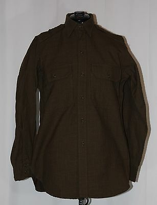 WWII US Army Men's Wool Shirt - Chocolate Shade - 14 1/2 x 32 - Small Size
