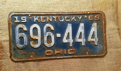 1969 Kentucky Automobile License Plate Tag Hot Rod Ohio County 696-444