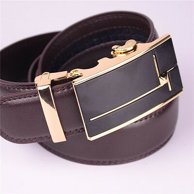 Fashion Mens Leather Belt Brown Belts Alloy Automatic Buckle Waistband