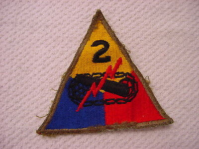 WWII U.S. 2nd ARMORED DIVISION PATCH GREEN EDGE