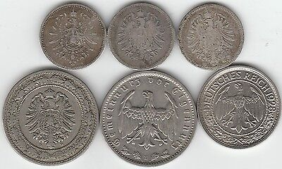Imperial Germany & Weimar Germany ** Lot of Six Coins ** Nice Mix Better Types