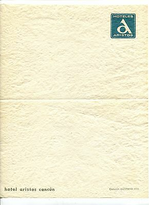 Vintage Hotel Stationery Letterhead HOTELES ARISTOS Cancun Mexico