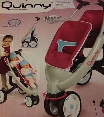 Smoby Maxi Cosi Quinny Dolls Twin Double Pushchair Buggy Stroller Pink Kids Toy