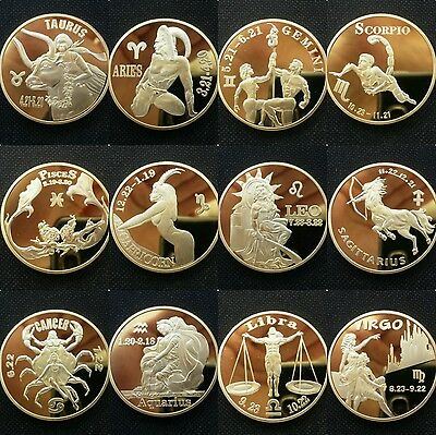 Zodiac signs set of 12 gold plated commemorative coins