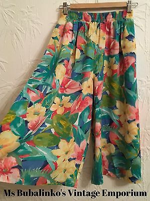Vintage 90s High Waist Wide Leg Culottes Long Shorts Flower Pattern Size 8 10