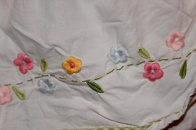 POTTERY BARN KIDS 100% Cotton Multi-Color Embroidered Floral Crib Skirt Girls