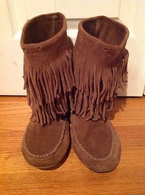 Minnetonka Moccasin 2 Layer Fringe Mid Calf Boot Women size 8 Brown Suede
