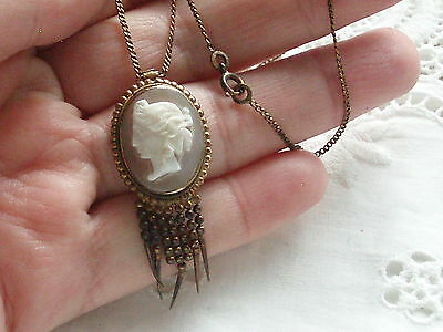 Antique French Vintage Etruscan Carved Shell Cameo Pendant Necklace