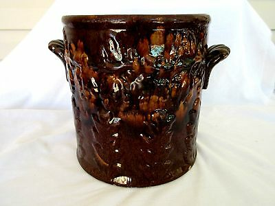 Antique Stoneware Crock Albany Glaze with Tan and Raised Flower Decoration