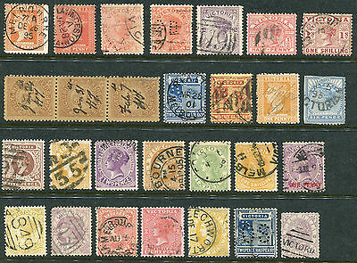 1850-1913 Victoria.  Unchecked selection of 28 stamps USED.