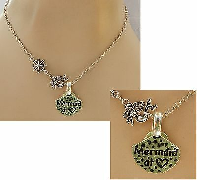 Silver Mermaid at Heart Pendant Necklace Jewelry Handmade NEW adjustable Fashion