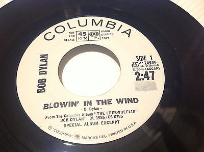 BOB DYLAN 2nd 45 BLOWIN' IN THE WIND/ SPECIAL ALBUM EXCERPT PROMO (BLACK PRINT)