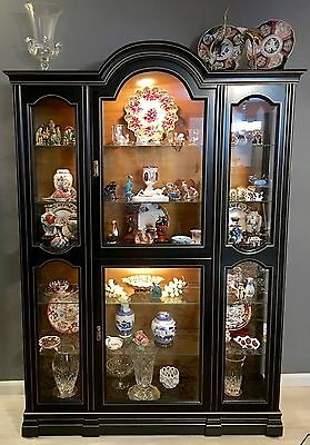 Black Chinoiserie French Provincial Jasper Lighted Cabinet Curio Display Case