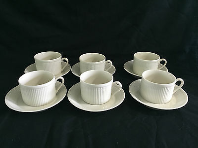 Vintage Lot 6 Buff Classic Fitz And Floyd Porcelain White Japan Cups Saucers