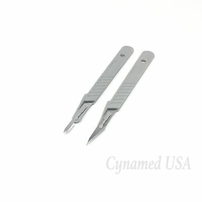2 Assorted Disposable Sterile Surgical Scalpels #11 #15 W/ Plastic Handle (Rct)