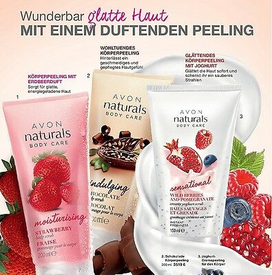 "(1,50€/100ml) Avon NATURALS BODY CARE Körperpeeling 200ml ""Duftwahl!"""