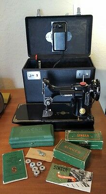 Vintage Singer Featherweight 221 sewing machine case attachments 1952