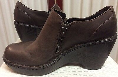 Born Women's Shoes 8.5 Ankle Booties Brown Leather Wedge Zip