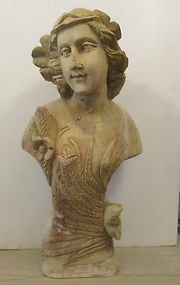 """Antique Style Carved Wood Bust of Grecian? Woman - 24"""""""