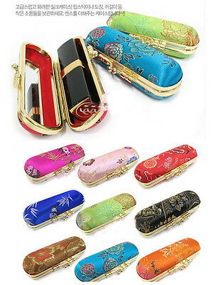 Wholesale10Pcs Chinese Classic Pattern Luxury Silk Lipstick Case Mirror Boxes