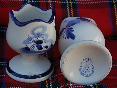 pair of  ceramic pottery Dutch blue Delft egg cups
