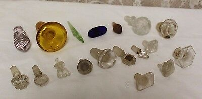 Lot of 18 Antique Clear / Color Glass Perfume Apothecary Bottle Stoppers