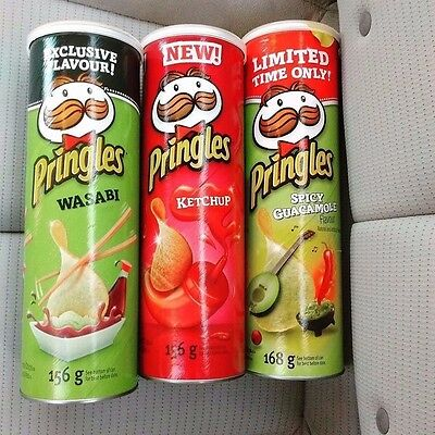 Pringles Limited Edition 3 Flavors WASABI, GUACAMOLE & KETCHUP (Made in USA)