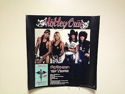 "MOTLEY CRUE - ""Dr. Feelgood Videos"" PROMO POSTER - 1990 - slightly used"