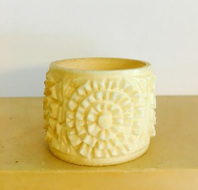 Bovine Bone Deep Carved Chinese Napkin Ring Probably Late 19th Century