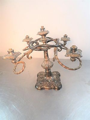 Antique Vintage Silverplate 5 Twisted Arm Candelabra Candlestick Light Lamp