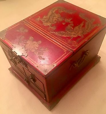 Lower PRICE! Vintage Chinese Make-up box w/folding mirror -Hand Made, Beautiful!