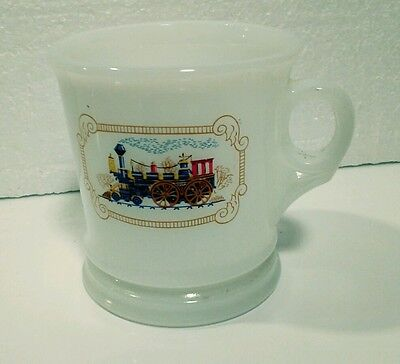 Vintage Avon Shaving Mug Milk Glass White Train Mug Cup