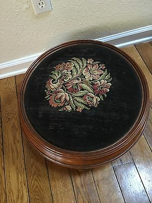"""Vintage Antique Needlepoint Footstool Large Round Floral 21"""" In Diameter"""