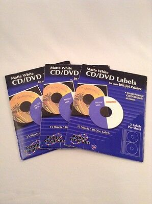 Printer Creations CD DVD Matte White Labels For Ink Jet Printers 45 Count New