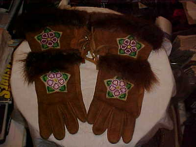 Native American Beaded Leather Gloves