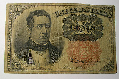 United States Currency Vintage1864 US 10 cents Fractional paper money Columbian