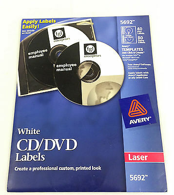 White CD/DVD Labels - Avery 5692 - New Opened Package - 40 Labels [bB6]