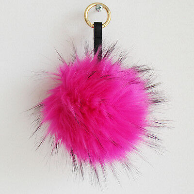 Faux Fur Furry Raccoon Pom Pom Keychain Ring Purse Handbag Charm Hot Pink