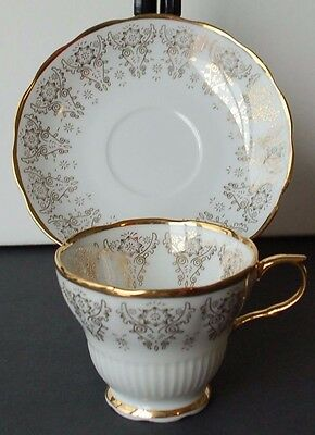 White Vintage Teacup and Saucer with Thick Gold Filagree Pattern -1970's/80's