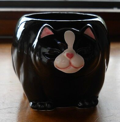 Cute Black White Porcelain Pink Cat-Shaped Takahashi Mug Japan 3""