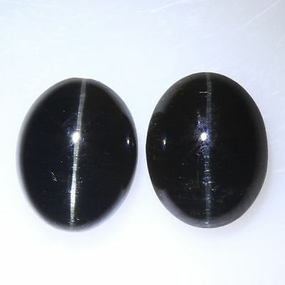 5.815 Ct VERY RARE FINE QUALITY 100% NATURAL SILLIMANITE CAT'S EYE INTENSE PAIR!