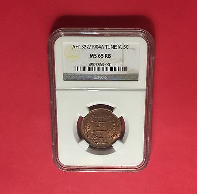 TUNISIA -AH1322/1904-A UNC 5 CENTIMES  NGC MS65 RED-BROWN..rare condition .