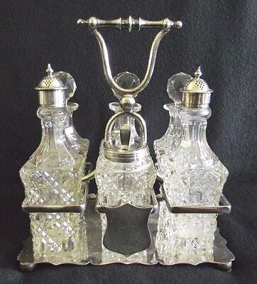 SIX PIECE Cut Glass CRYSTAL CRUET and EPNS CRUET STAND