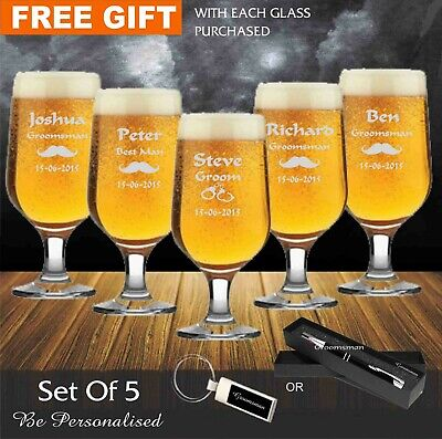 5 x Personalised Engraved 340ml Footed Beer Glass Wedding Favour Gifts Groomsman
