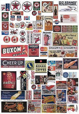 New 1:30 G Scale A4 Uncut Transparent Self Adhesive Vintage Signs Sheet