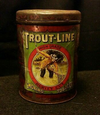 Vintage Style Trout-Line Tobacco Tin Beauty...Handcrafted by Artist...NICE!