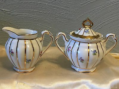 Chintz Sugar and Creamer Pink and Green Floral Porcelain / Ganz