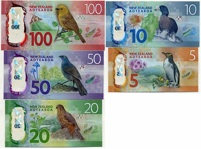 "NZ""2016 BRIGHT MONEY GEM UNC BANKNOTE SET $5,$10,$20,$50+$100""RARE""1 set 5 Notes"